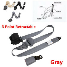 Gray NEW 3 Point Retractable Car Safety Seat Belts Lap With Curved Rigid Buckle