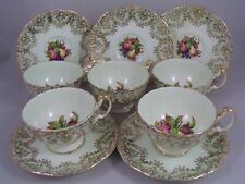 FIVE VINTAGE AYNSLEY AUTUMN FRUITS CUPS AND SAUCERS.