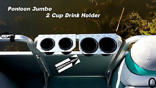 Diamond Plate JUMBO 2 Cup Drink Holder Fits >>> 1 Inch Pontoon Boat Fence Rail
