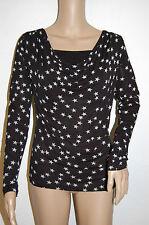 PULL T-Shirt Benitier 2en1 Haut MOTIF étoile BLANCHE top NOIR VOTRE MODE 36 / 38