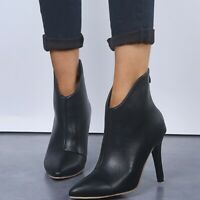 Chic Womens Pointy Toe Stiletto High Heel Ankle Boots Casual Zip Shoes Plus size