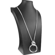 Largo Color Plata Anillo Doble Lazo Collar Colgante 95 cm bordillo Bisutería
