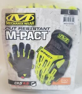 Mechanix Wear - Cut-Resistant Impact Gloves Hi-Viz M-Pact E5 - 180 CUT - NEW L