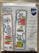 Crazy Cat Bookmarks Vervaco Counted Cross Stitch Kit 14 Count 100% Cotton 2.4x8