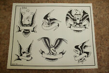 Vintage 1983 Spaulding & Rogers Tattoo Flash Sheet Eagles #194