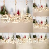 DIY Crafts Christmas Tree Wooden Pendants Xmas Decoration Hanging Ornaments