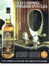 Publicité Advertising 087  1985  le whisky Terre d'Ecosse Clan Campbell
