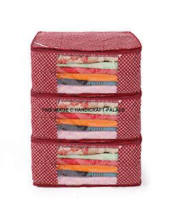 (3 PC) Oneside Plastique Transparent Vêtements Sari Rangement, Housse Sac 17.8cm