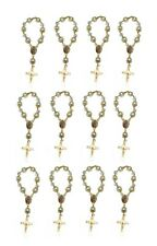 12 Piece Rosary Pearl Bracelet Our Lady of Guadalupe Catholic (Gold)