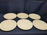 Vintage Totally Today China Set/6 Dinner Plates White w/Gold Rim & Inner Band
