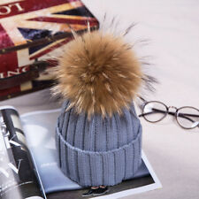 2019 Winter Hat Real Raccoon Fur Pom Pom Bobble Women Knit Beanie Christmas Gift