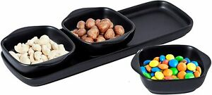 Bruntmor Porcelain 4-piece Tray set with 3 Compartment Serving Square Bowl Black