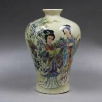 Chinese Famille Rose Porcelain Qing Tongzhi Maid Pattern Vase 6.6 inch