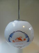 Art Deco Kugelleuchte Deckenlampe Kugellampe Glas Kugel weiß Chrom um1928
