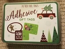 New in Tin 6 Designs, 18 Sheets Red Foil Christmas Gift Tags Sticker Set Of 78
