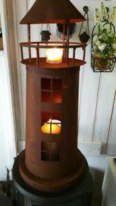 XXL 62cm Leuchtturm Windlicht Metall rost Garten Balkon Meer HOME KONTOR