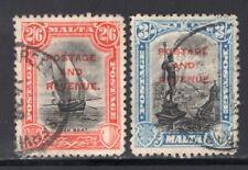 "Malta 1928 ""Postage & Revenue"" 2Sh6d + 3Sh VF Used"