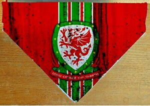 Wales Cymru Football  Dog Cat Bandana Slide on Collar Neckerchief Scarf Handmade