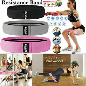 Fabric Resistance Bands Set 3 Heavy Duty Booty Glute Hip Circle Butt Non Slip UK