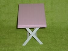 Loving Family Dollhouse Size Pink & White Picnic Table