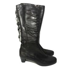 Taryn Rose Womens Knee High Boots Brown Italian Leather Lace Up Size 37.5 US 7.5