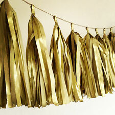 "5x 14"" Gold Tissue Tassels Wedding Event Party Balloon Hanging Paper Garland"