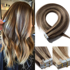 Tape in on Extensions Echt Human Hair Mischfarbe Haarverlängerung Echthaar Glatt