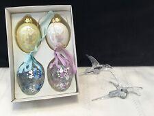 Lot of 6 Spring Easter Glass Ornaments 4 Eggs & 2 Hummingbirds (V77)