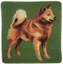 """13"""" x 13"""" Handmade Wool Needlepoint Finnish Spitz Pillow"""
