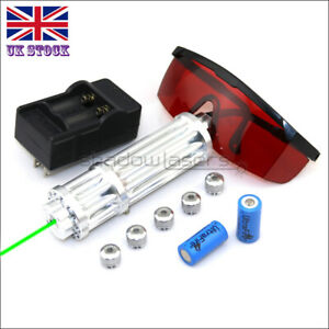 GX3-C 1MW 520nm Green Laser Pointer Lazer Pen &Battery&Charger&Goggles&5 Caps UK