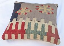 Bohemian Kilim Pillowcase, Tribal Decorative Pillowcase, Cushion Kilim 16''x16''