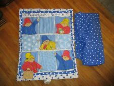 vtg Paddington Bear Crib Sheet & Comforter Blanket Throw Nursery Bedding Set