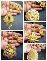 22K Gold plated Indian Variation Pendant Earrings Necklace Party Flower nice Set