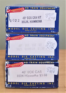 Lot of 3 Roundhouse Products HO  Train Box Cars RTR assembled 1022,1023,1024