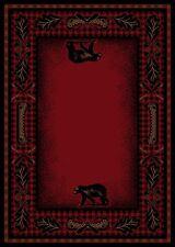 5X8 Lodge Cabin Area Rug Mountain Plaid Red Black Rustic Bear Canoe Paw Oar Fish