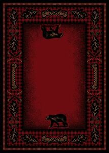 5X8 Lodge Cabin Area Rug Mountain Plaid Red Black Rustic Bear Canoe Paw Oar Fish