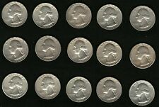 Lot of 15 Silver Coins US George Washington Silver Quarters Year: 1964
