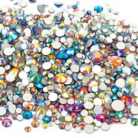 1000x Flat Back Glass Crystal Clear and AB Rhinestones Mixed Size 2mm-6mm