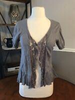PINS & NEEDLES Gray Thin Knit Open Front Peplum Short Sleeve Sweater MEDIUM