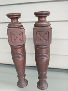 Pair Antique Carved East Lake Style Walnut Columns Spindles Posts 13 X 2 1/2""
