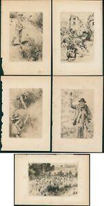 E. Philip Pimlott (A.R.E) Lot of 5 original etchings, 1896