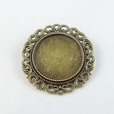 8pcs Vintage Bronze Alloy Round Cameo Setting Pin Brooch Base Jewelry 38776