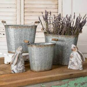 Set of Three Tapered Oval Pails with Wood Handles
