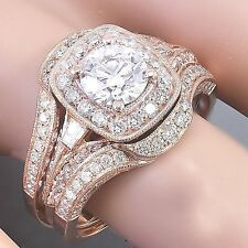 10k Rose Gold Round Cut Moissanite And Diamond Engagement Ring And Bands 2.70ctw