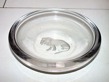 Antique Lion Etched Val St. Lambert Crystal Art Glass Belgium Bowl or Ashtray