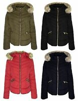 New Womens Fashion Jacket Zigzag Quilted Padded Ski Puffa Fur Hood Zip Top Coat