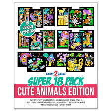 Super Pack of 18 Fuzzy Velvet 8x10 Inch Posters (Cute Animals Edition)