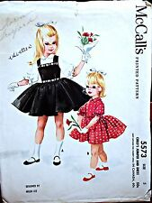VINTAGE 1960 McCALLs 5573 ORIGINAL SEWING PATTERN  GIRLS' DRESS & JUMPER - Sz 5