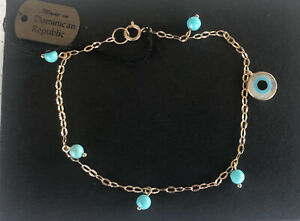 14K Gold Turquoise and Evil Eye Bracelet
