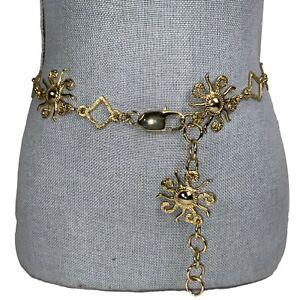 Designer Sunburst Gold-tone Chain Geometric Belt Sz Small Coco Look Spring Boho